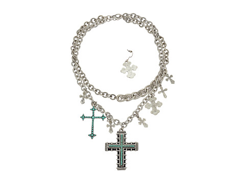M&F Western Double Chain with Crosses Necklace/Earrings Set