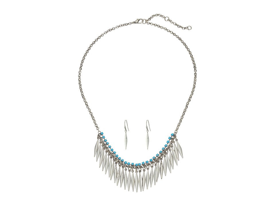 M&F Western - Feather Fringe Necklace/Earrings Set (Silver/Turquoise) Jewelry Sets