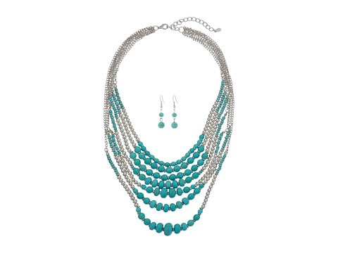 M&F Western 7 Strand Beaded Necklace/Earrings Set - Silver/Turquoise