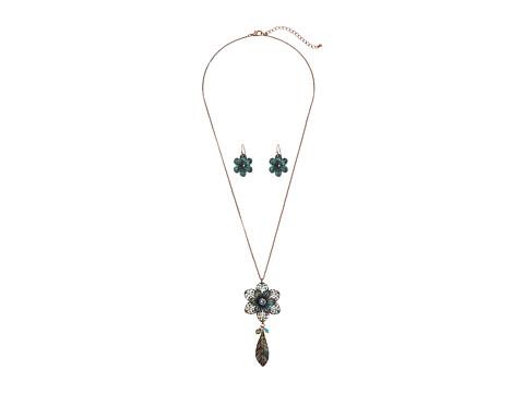 M&F Western Flower Necklace/Earrings Set - Patina