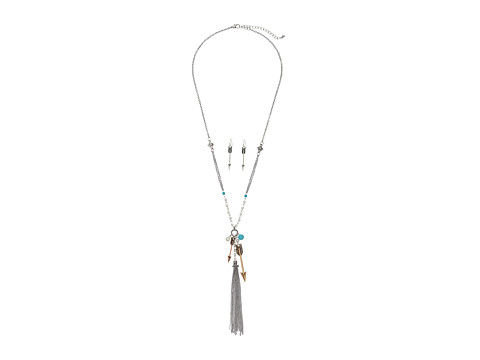 M&F Western Arrow and Fringe Necklace/Earrings Set - Silver