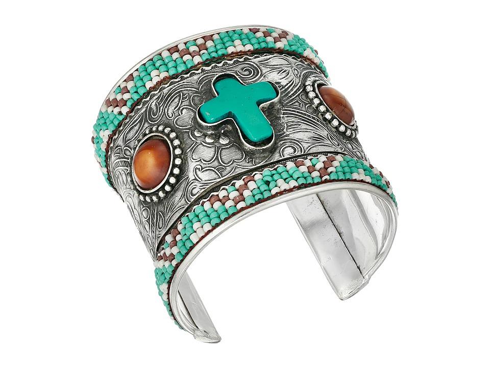 M & F Western - Beaded Cross Cuff Bracelet (Silver/Turquoise) Bracelet