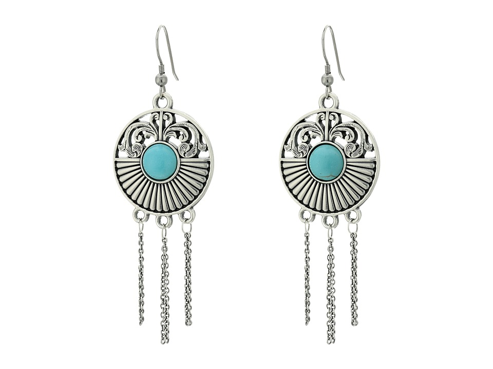 MampF Western Medallion Fringe Earrings Set Silver Earring