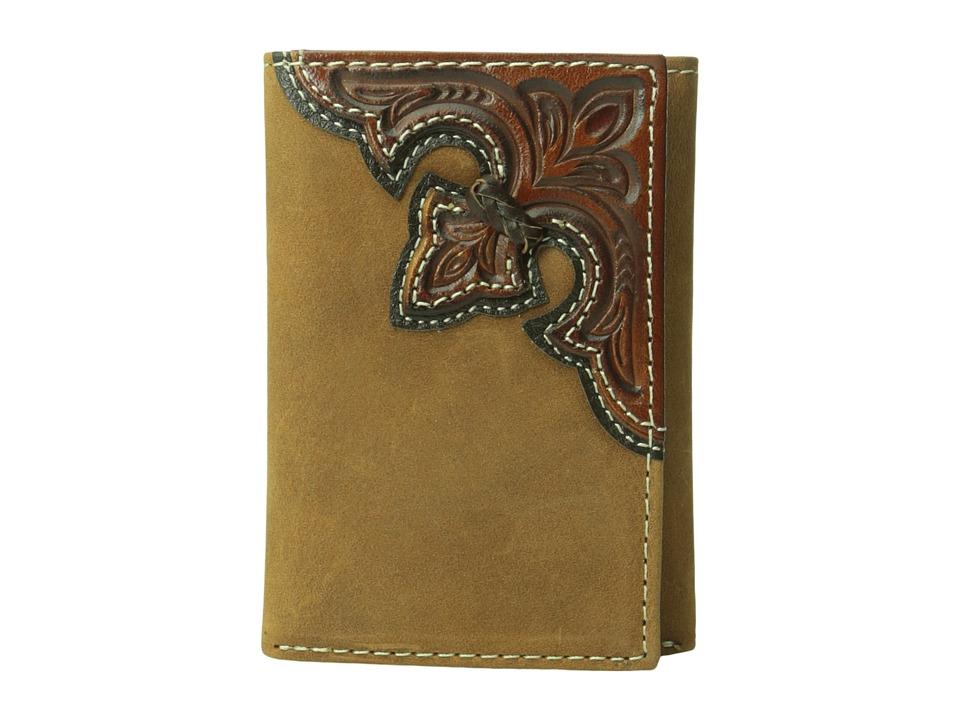 MampF Western Embossed Corner Trifold Wallet Brown Wallet Handbags