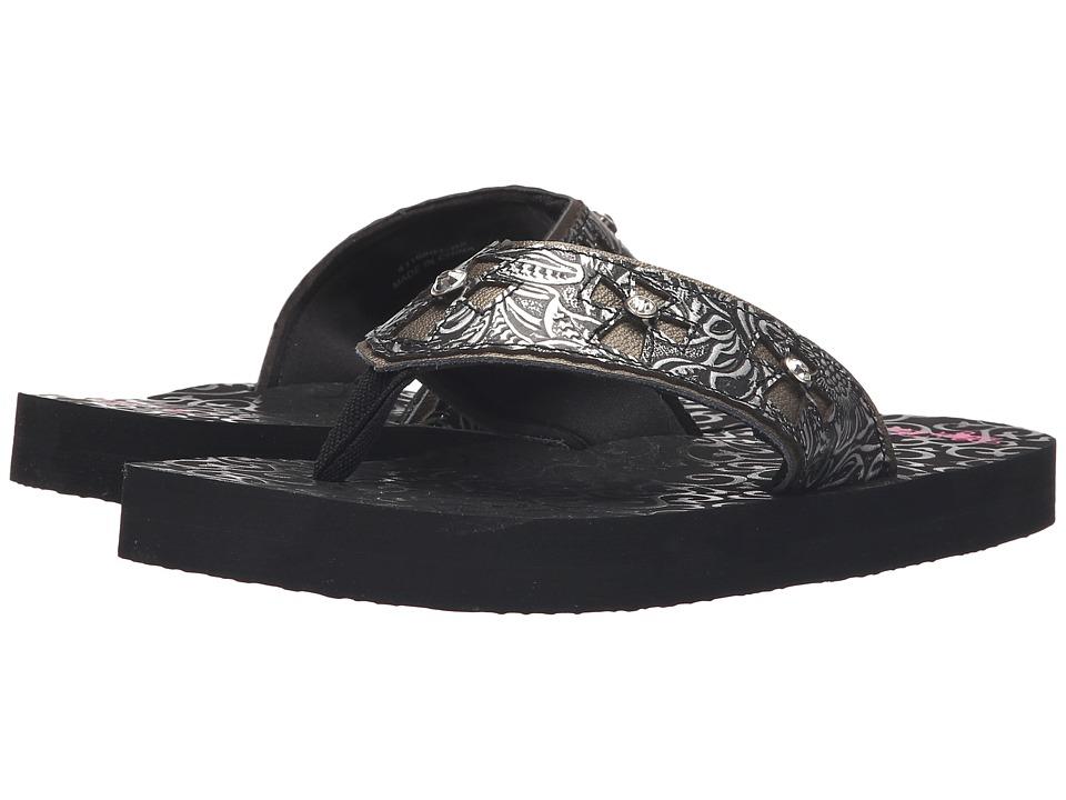 MampF Western Libby Black Womens Sandals