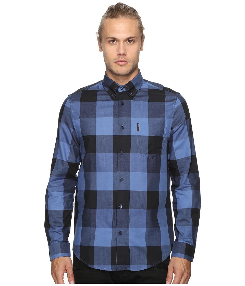 Ben Sherman - Long Sleeve Textured Oversized Gingham Woven Shirt (Washed Blue) Men's Long Sleeve Button Up
