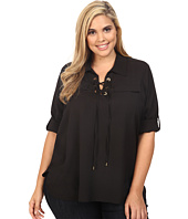 Calvin Klein Plus - Plus Size Lace-Up Blouse