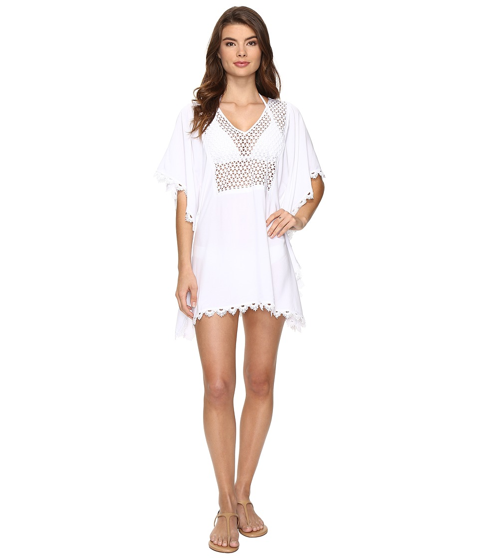Seafolly Lace Insert Kaftan Cover-Up (White) Women