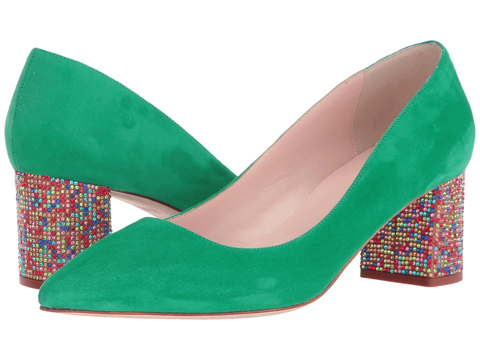 Kate Spade New York Milan (Emerald Green Kid Suede/Multicolor Stone) Women