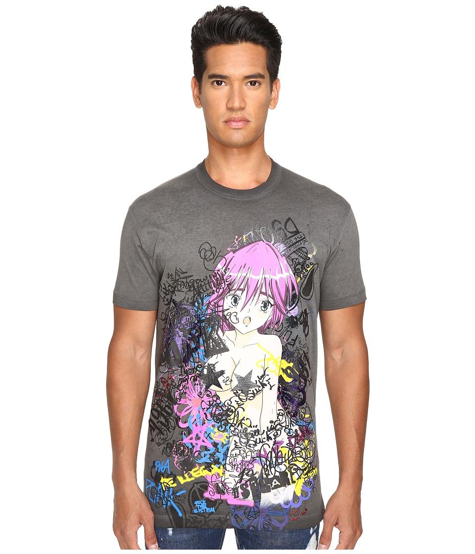 DSQUARED2 Long Cool Fit Punk Manga Gang T-Shirt (Dark Grey) Men