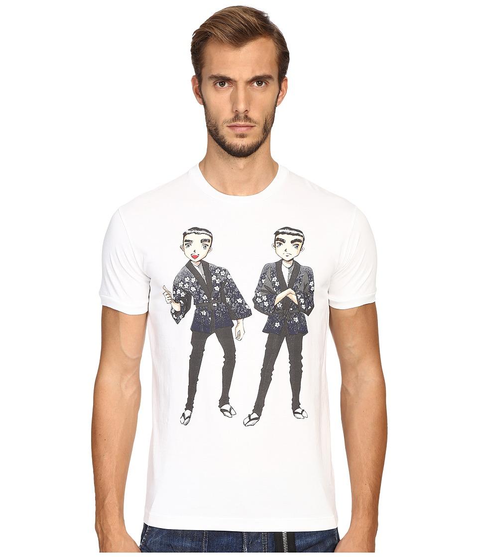 DSQUARED2 - Chic Dan Fit Punk Manga Gang T-Shirt (White) Men