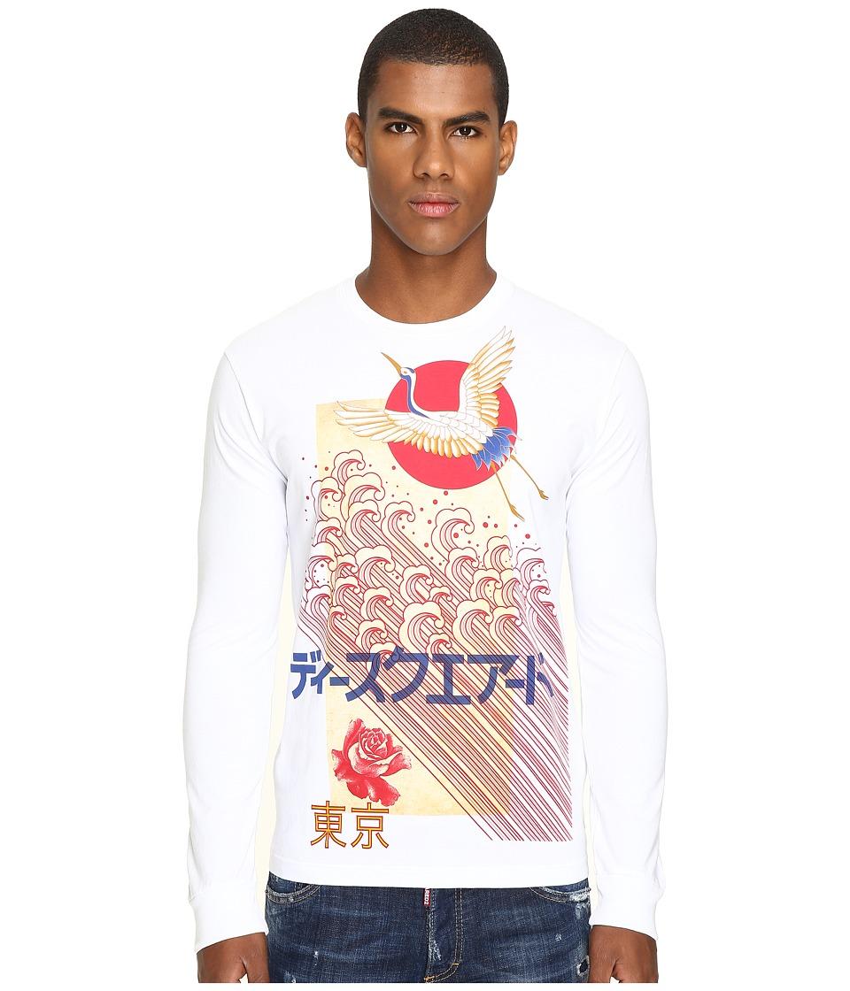DSQUARED2 Chic Dan Fit Punk Manga Gang Slong Sleeve T-Shirt (White) Men