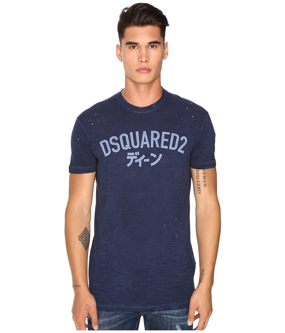 DSQUARED2 - Long Cool Fit Japanese Indigo T-Shirt (Blue) Men