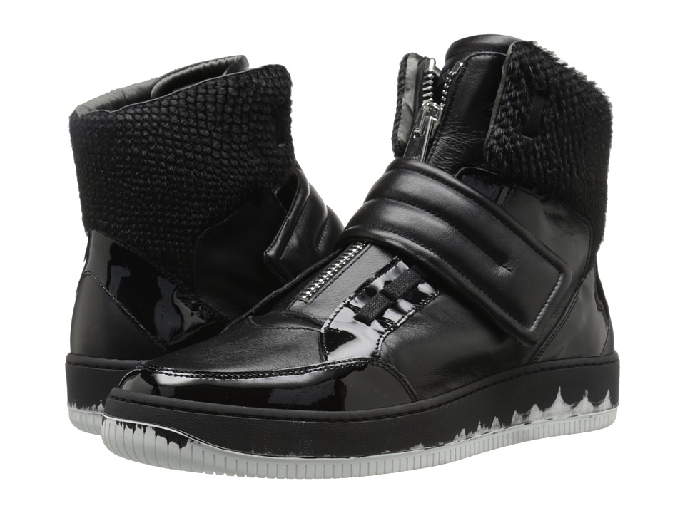 Just Cavalli Viper Horse Leather and Patent Leather (Black) Men
