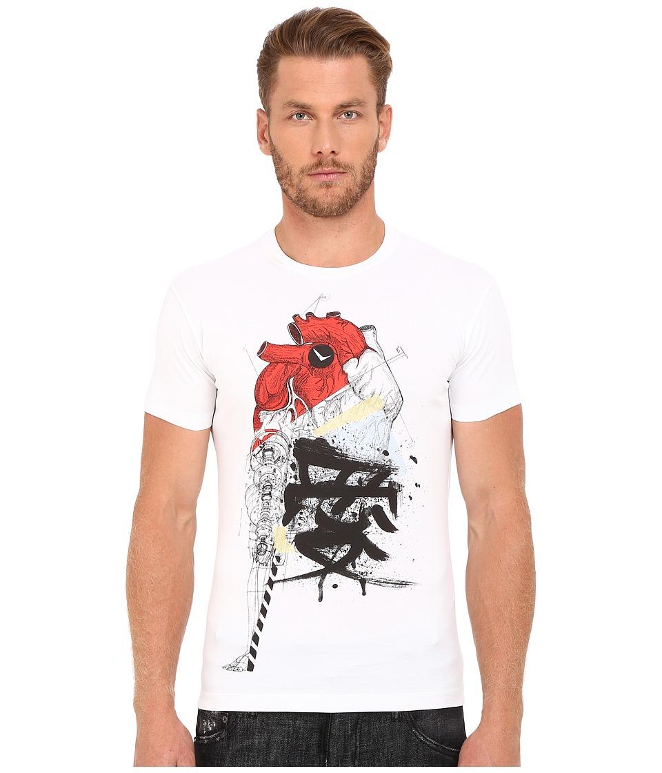 DSQUARED2 Chic Dean Fit Samurai Heart Dan Shirt (White) Men