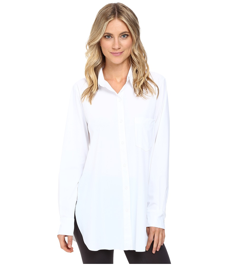 Lysse Schiffer Stretch Microfiber Button Down (White) Women