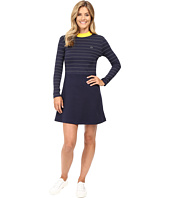 Lacoste - L!ve Contrast Mock Neck Striped Fit and Flare Dress