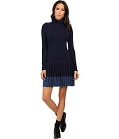 Lacoste - Long Sleeve Pleated Skirt Wool Collar Dress