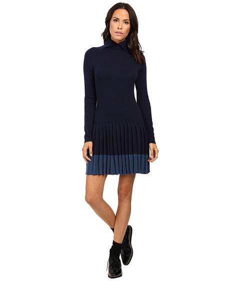 Lacoste Long Sleeve Pleated Skirt Wool Collar Dress