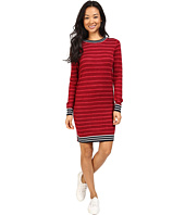 Lacoste - Long Sleeve Striped Double Face Wool Dress