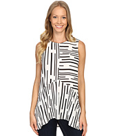 Vince Camuto - Sleeveless Linear Geo Ruffle Front Blouse
