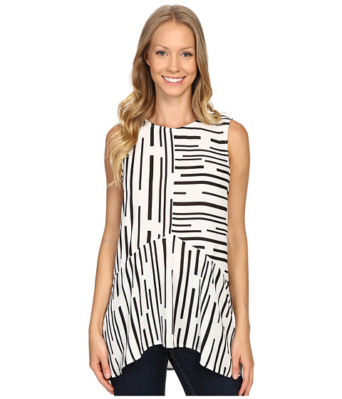 Vince Camuto Sleeveless Linear Geo Ruffle Front Blouse