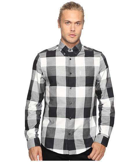 Ben Sherman Long Sleeve Textured Oversized Gingham Woven Shirt