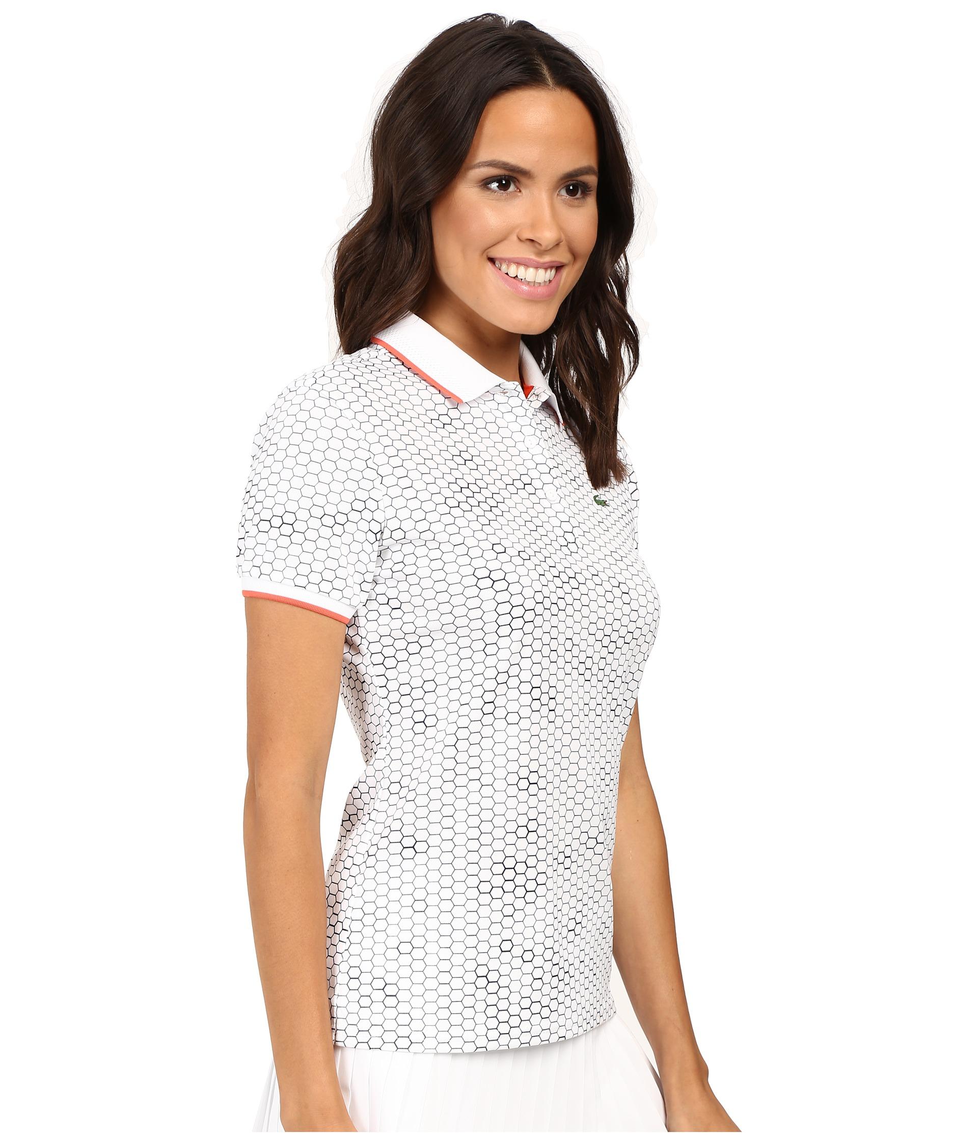Lacoste short sleeve geometric printed technical polo for Short sleeve lacoste shirt