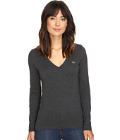Lacoste - Long Sleeve Cotton Jersey V-Neck Tee Shirt