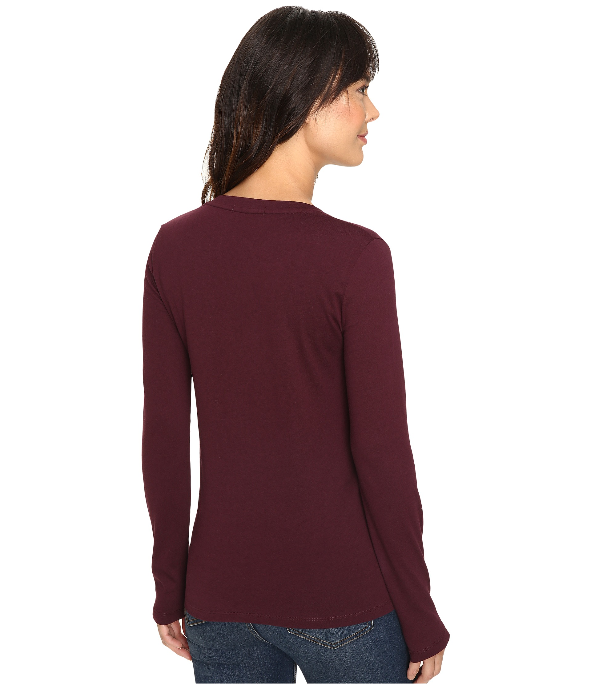 Lacoste long sleeve cotton jersey v neck tee shirt red for Cotton long sleeve v neck t shirts