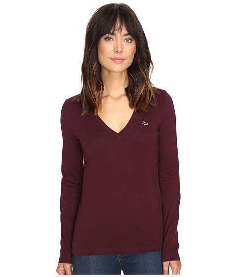 Lacoste Long Sleeve Cotton Jersey V-Neck Tee Shirt - Red Grape