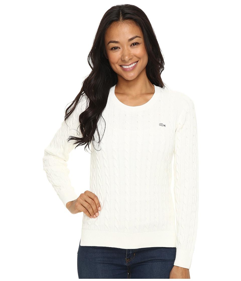 Lacoste Long Sleeve Cotton Cable Knit Crew Neck Sweater (Cake Flour White) Women