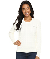 Lacoste - Long Sleeve Cotton Cable Knit Crew Neck Sweater