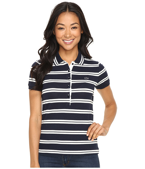 Lacoste Short Sleeve Striped Slim Fit Polo Shirt