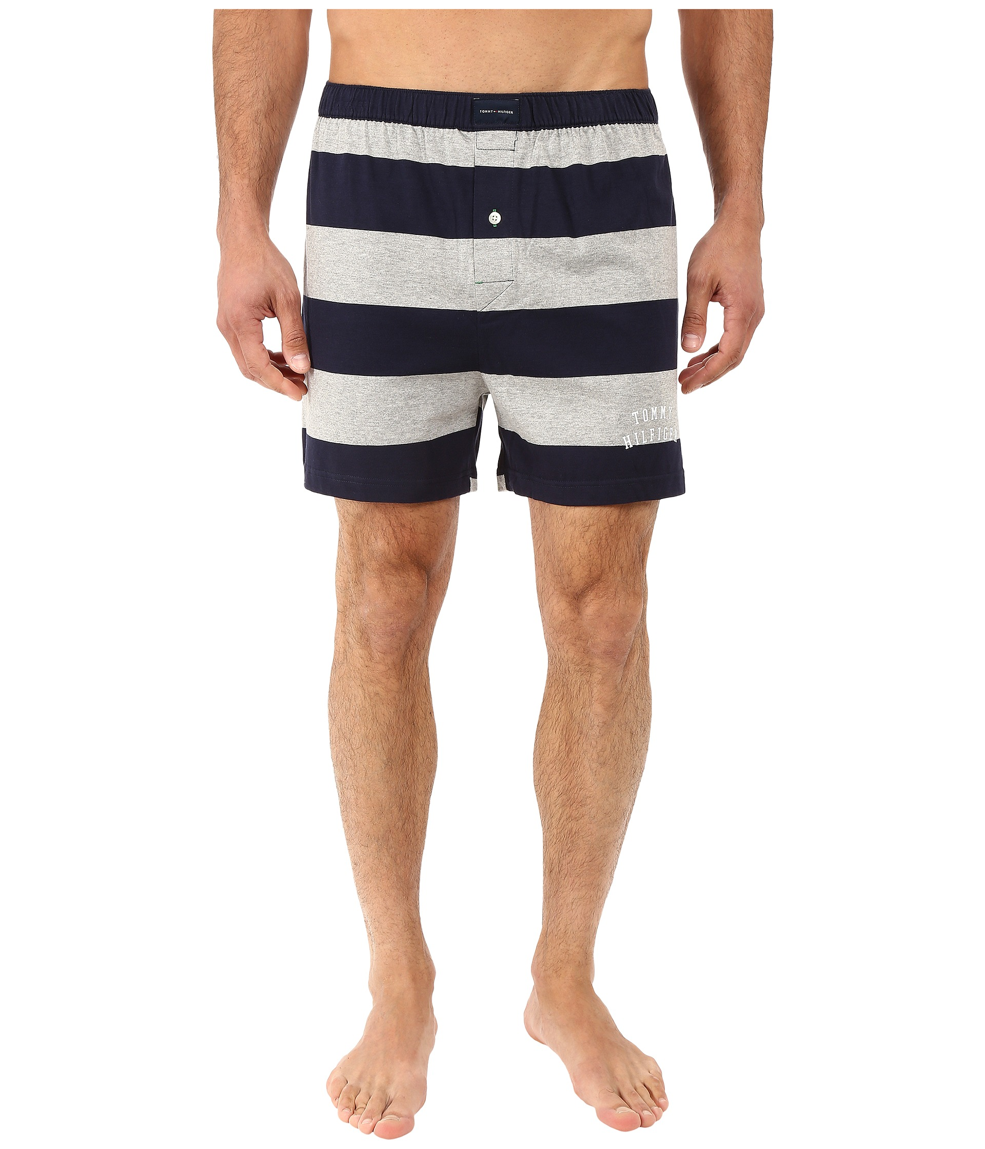tommy hilfiger rugby stripe knit boxer grey navy zappos. Black Bedroom Furniture Sets. Home Design Ideas