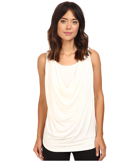 Christin Michaels Freida Sleeveless Cowl Neck Top with Built-In Camisole