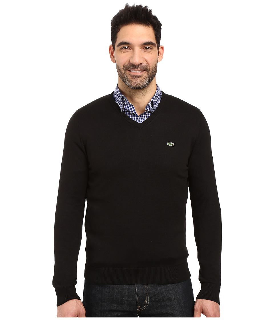Lacoste Segment 1 Cotton Jersey V-Neck Sweater (Black) Men