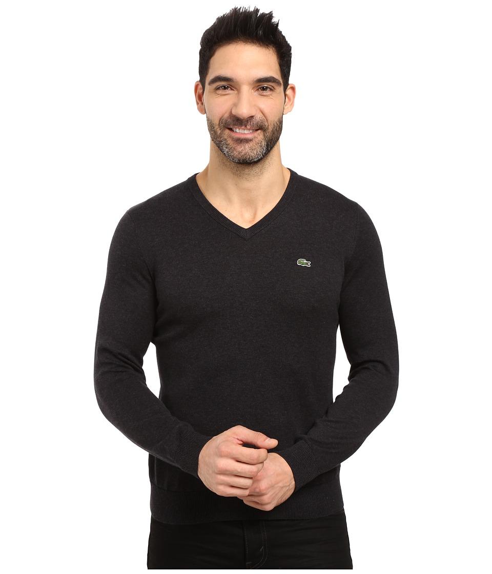 Lacoste Segment 1 Cotton Jersey V-Neck Sweater (Panther Black) Men
