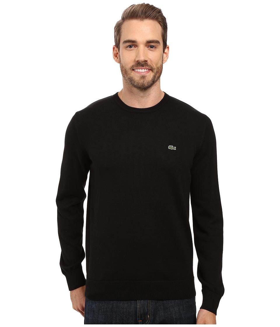 Lacoste - Segment 1 Cotton Jersey Crew Neck Sweater (Black) Mens Sweater