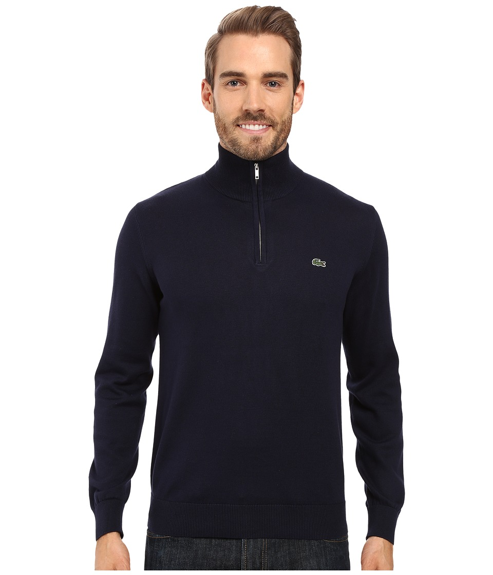 Lacoste Segment 1 1/4 Zip Jersey Sweater (Navy Blue) Men