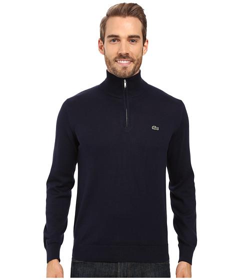 Lacoste Segment 1 1/4 Zip Jersey Sweater - Navy Blue