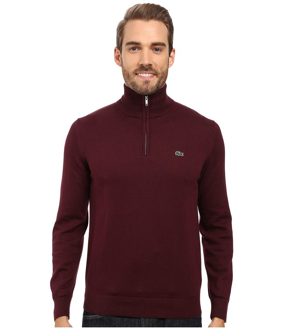 Lacoste Segment 1 1/4 Zip Jersey Sweater (Red Grape) Men