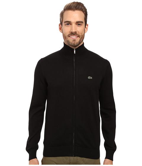 Lacoste Segment 1 Full Zip Jersey Sweater - Black