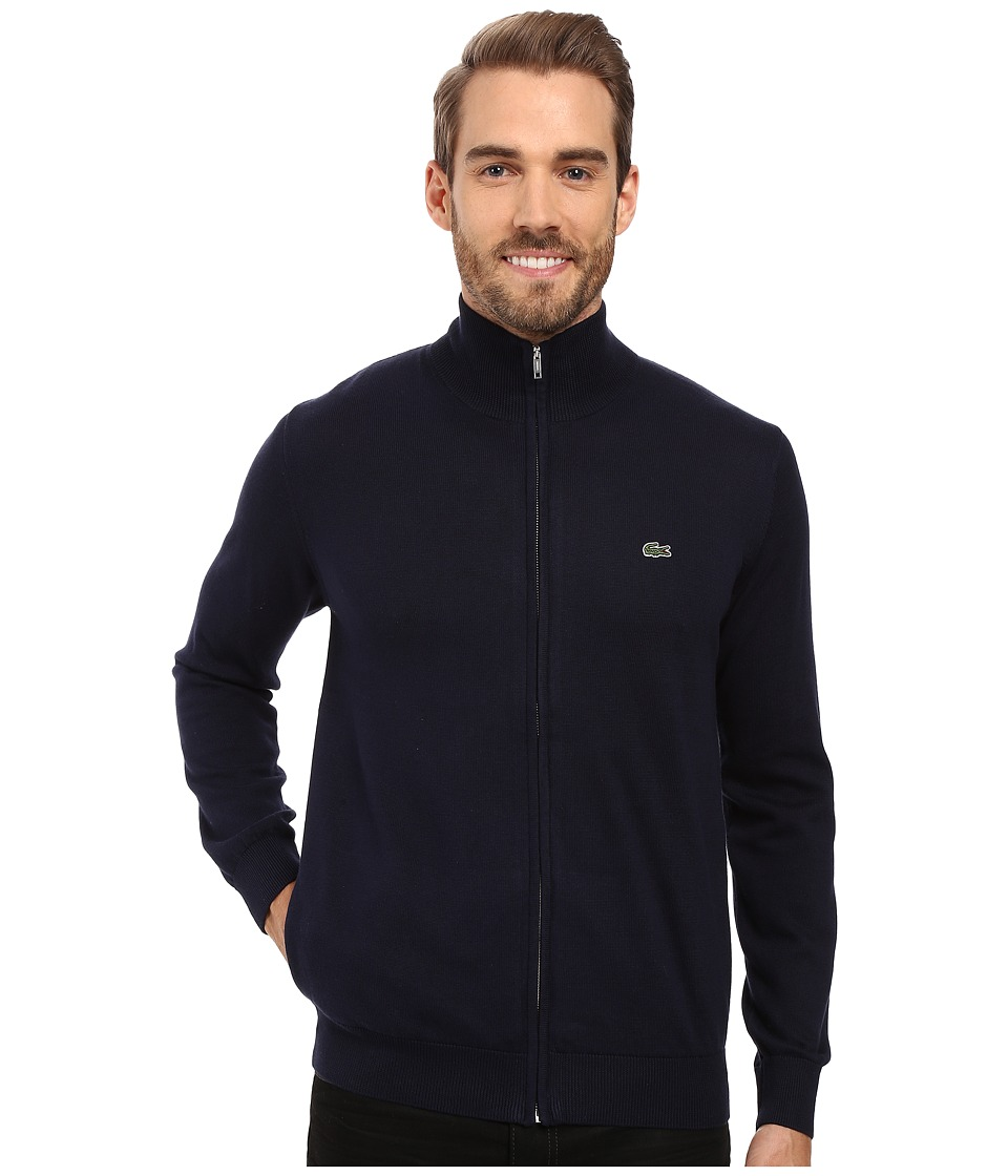 Lacoste Segment 1 Full Zip Jersey Sweater (Navy Blue) Men