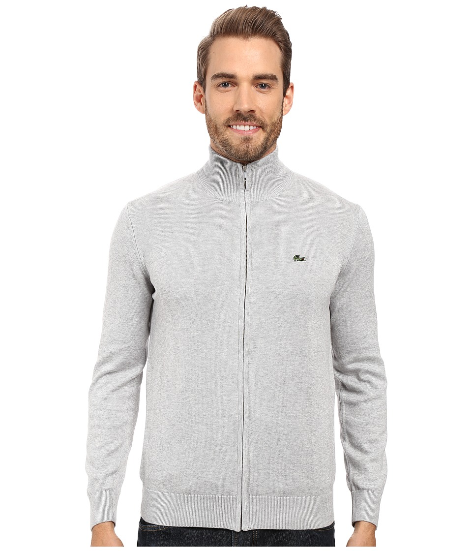 Lacoste Segment 1 Full Zip Jersey Sweater (Silver Grey Chine) Men