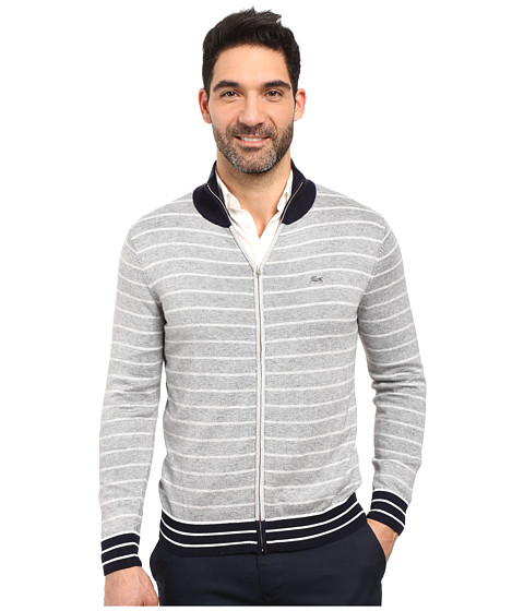 Lacoste Long Sleeve Double Face Chine Stripe Zip Cardigan