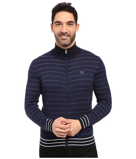Lacoste Long Sleeve Double Face Chine Stripe Zip Cardigan - Midnight Blue Chine/Navy Blue/Flour