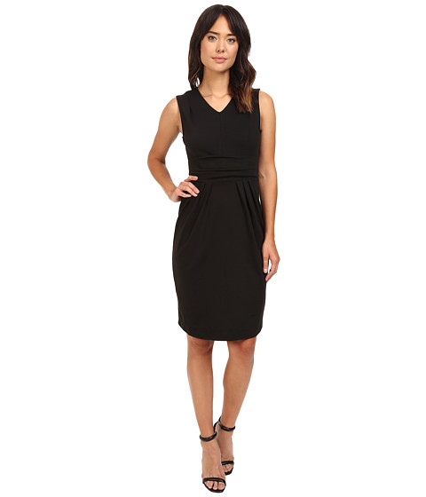 Christin Michaels Kassandra V-Neck Ponte Dress with Cinched Waist