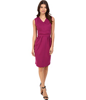 Christin Michaels - Kassandra V-Neck Ponte Dress with Cinched Waist