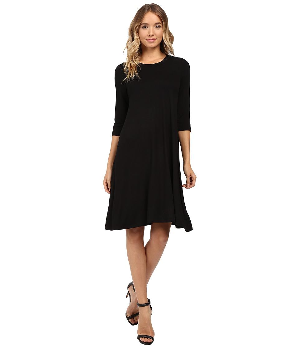 Christin Michaels Abida 3/4 Sleeve Flowy Dress (Black) Women